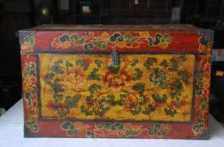 Large Tibetan Storage Trunk Wood Hope Chest Handpainted With Buddhist