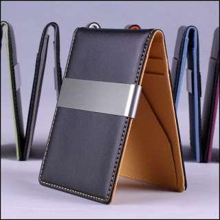Premium Faux Leather Slim Money Clip Wallet Credit ID Case Card Holder
