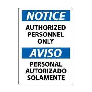 14 Length x 10 Height Black//Blue on White NMC N301AB OSHA Sign Aluminum NO Admittance Employees ONLY LegendNotice
