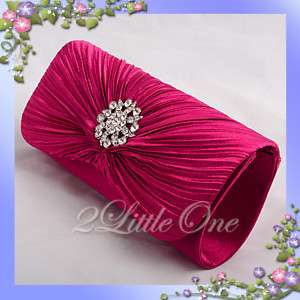 Hot Pink Satin Evening Wedding Prom Clutch Purse Bag