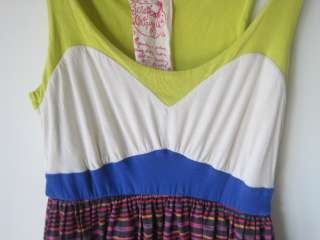EUC Anthropologie Scrapbook Dress Size M Yellow, white and pink