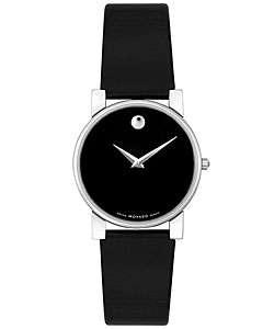 Movado Museum Womens Black Strap Watch