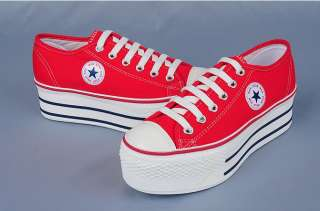 Women Canvas Platform Sneakers Tennis shoes Black/White/Red/Blue/Pink