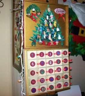 CHRISTMAS ADVENT CALENDAR Wooden Box Mini Ooak Handmade Ornaments Set