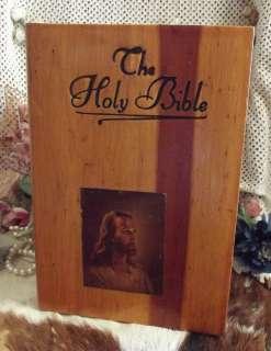 ANTIQUE Wooden BIBLE Box SALLMAN JESUS Print CEDAR Wood Chest ART
