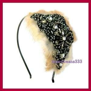 Handmade Faux Fur Crystal Headband Hair Band Clip 71