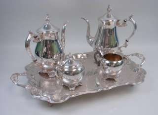 Plate Coffee+Tea Pot Service Set Tray Creamer Sugar Bowl+Lid