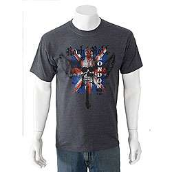 American Fuel Mens Skull & Guitar with British Flag T shirt