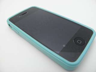 TURQUOISE TPU GEL RUBBER SKIN COVER CASE 4 APPLE IPHONE 4 4S + SCREEN