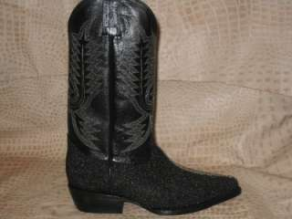 Mens Embossed Stingray Leather Boots Black