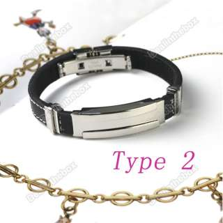 Silver Stainless Steel Rubber Bracelet Wristband Bangles New