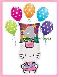 HELLO KITTY 4TH birthday polka dot balloon PRINCESS SET