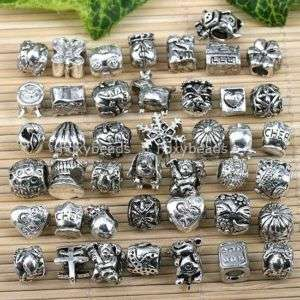 40*MIXED Tibet Silver European Beads Fit Charm Bracelet