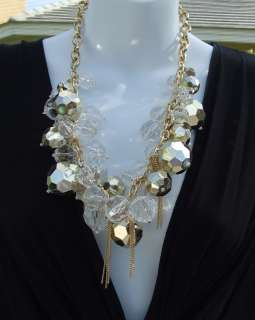 LARGE CLEAR GOLD ACRYLIC MULTI BEADS NECKLACE EARRINGS JEWELRY SET NEW