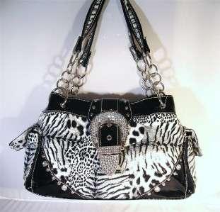 Black & White Leopard Rhinestone Buckle Western Cowgirl Purse Handbag
