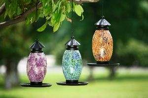 10 Blue Green Mosaic Glass Metal Hanging Bird Feeder