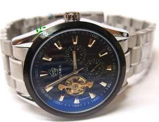 * Tourbillon 2 Eye Black Automatic Mechanical Men Steel Watch