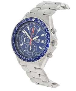 Seiko Mens Pilot Chronograph Blue Dial Watch