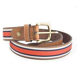 Tommy Hilfiger Mens Red/ White/ Blue Fabric Stripe Belt