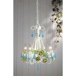 Floral Mini Chandelier Lighting Fixture, White, Green, Blue Crystal