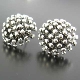 16mm Vintage style antique silver pinecone Flower earring stud