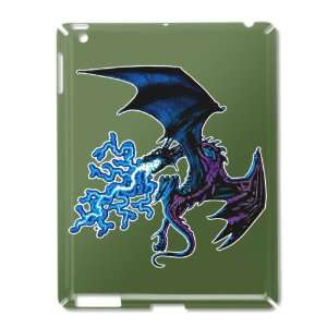 iPad 2 Case Green of Blue Dragon with Lightning Flames