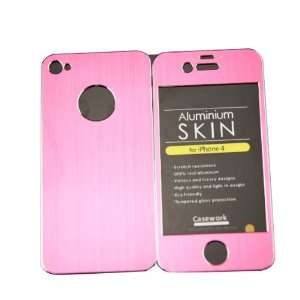 HK Full Body Brushed Aluminum Skin Sticker Pink Protector