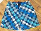 Body Glove Mens Blue White & Gray Checkered Board Shorts/Swim Trunks
