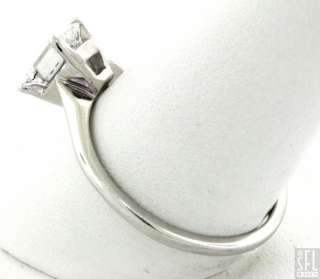 GIA CERTIFIED 14K WG .57CT VS2/E EMERALD CUT DIAMOND SOLITAIRE WEDDING