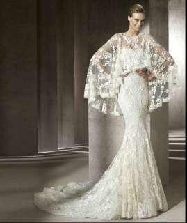 mermaid bridal wedding dress custom gown prom Vintage lace big shawl