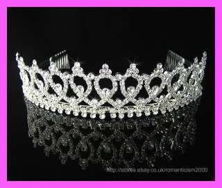 Wedding/Bridal crystal veil tiara crown headband CR121
