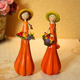 Set Of 2 Cute Pumpkin Doll Home Decorative Resin Figurines W3