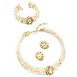 Bridal Jewelry Set Pearl 4 Pcs Necklace Bracelet White