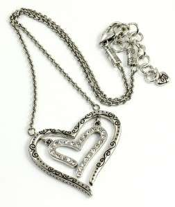 Brighton LOVE STRUCK Heart Crystal Necklace   NWT