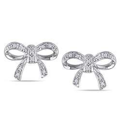 10k White Gold Diamond Accent Bow Stud Earrings