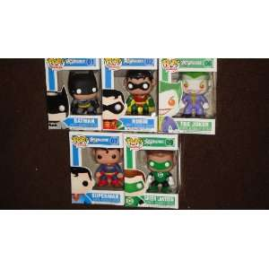 POP HEROES DC UNIVERSE BOBBLE HEADS BATMAN ROBIN JOKER