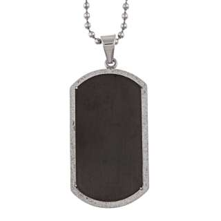 Stainless Steel Mens Diamond cut Dog Tag Necklace
