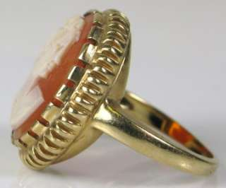 Yellow Gold Hand Carved Cameo Ring Size 4 ~Retail $2000. 4.6g