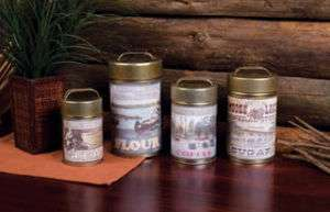 Rustic OUTDOOR THEME CANISTER SET Flour Sugar Coffee +