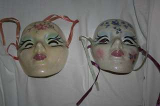 Pair of Mardi Gras Ceramic Porcelain Masks Made in New Orleans