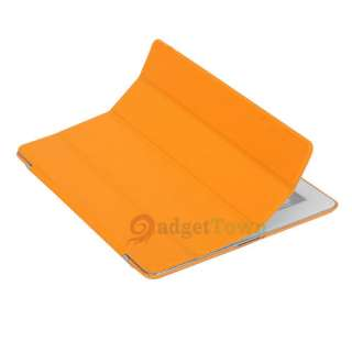 Slim Magnetic Leather Smart Cover + Hard Back Case for iPad 2 Orange