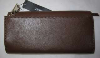 DK NY Luster Leather Wallet Purse Organizer Wristlet