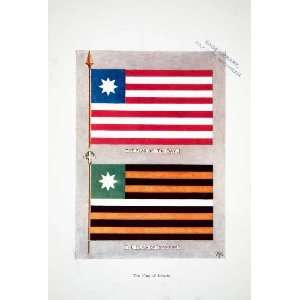 1906 Color Print Liberia Africa Country Future Flag