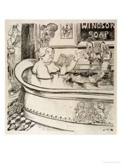 Queen Victoria Cartoon in Her Bath with John Brown in Attendance