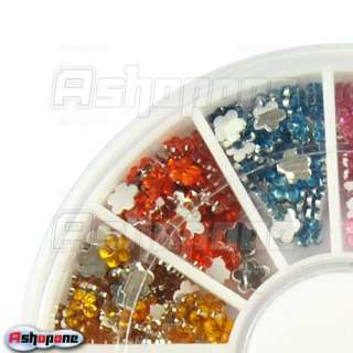 Glitter Flower Nail Art UV Acrylic Tips Rhinestones Wheel