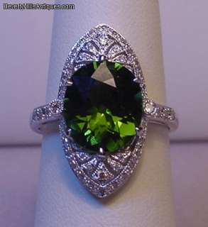 Superb Art Deco Style Tourmaline Diamonds 18k WG Ring