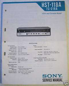 SONY SERVICE MANUAL HST 118A Receiver / 8 Track Player