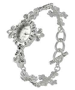 Geneva Platinum Fleur de Lis Cross Watch