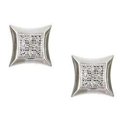 10k White Gold Square Diamond Earrings (K, I2)