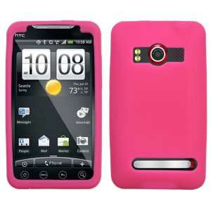 HTC EVO 4G HOT PINK SOLID SILICONE SKIN RUBBER SOFT CASE